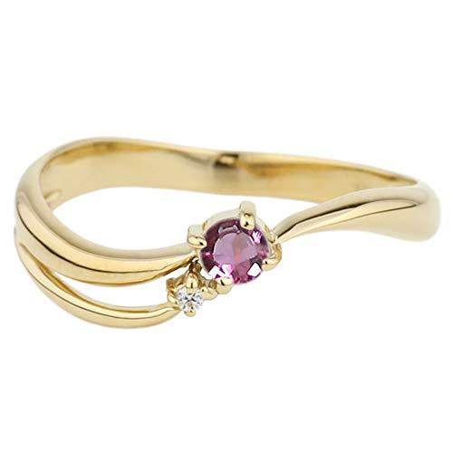(リュイール) 指輪 レディース 人気 ピンクトルマリン リング 人気 リング 一粒 指輪 誕生石 流れ星 モチーフ 星 スター 10金 k10イエローゴールド サイズ 7.5号