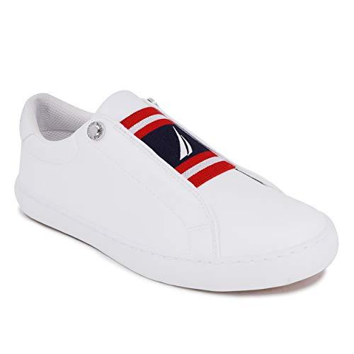 Nautica Women Sneaker Fashion Casual Shoe-Slip On Nitara-White-8.5