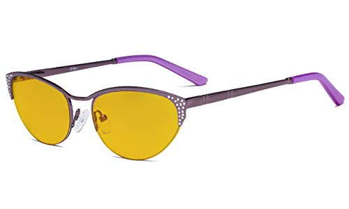 Eyekepper Blaulicht Schutz -Computerbrille - mit bernsteinfarbener Filterglas -UV-Strahlen Schutz Cat-Eye-Brillen Damen Halbrand Lila Cat-Eye-Brillen Damen Halbrand Lila mit Kristallen