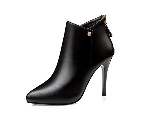 OOFAY Damen High Heels/Sexy Elegante Stiefeletten / 10Cm High Heel Lederstiefel/Spring and Autumn Ankle Boots 34-39,Schwarz,38