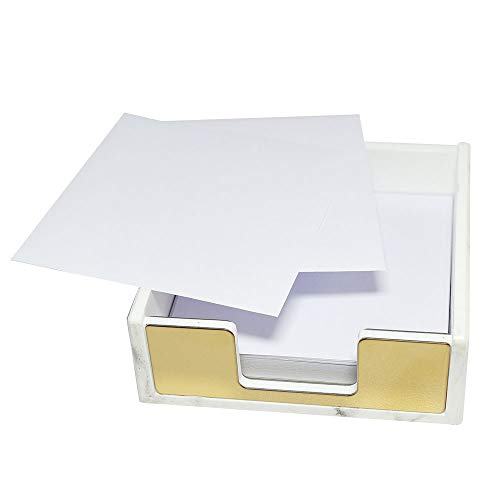 Buqoo Memo Dispenser Marble White with Gold Sticky Notes Holder Desktop Accessory(Gold)