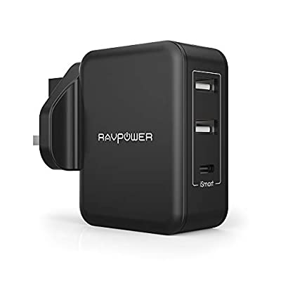 RAVPower 30W 3-Port USB Wall Charger with 5V 3A USB C Output, Charging Station with 2 iSmart 2.0 USB Ports for iPhone 11 Pro Max, Galaxy S9 and All Type C Devices - Black
