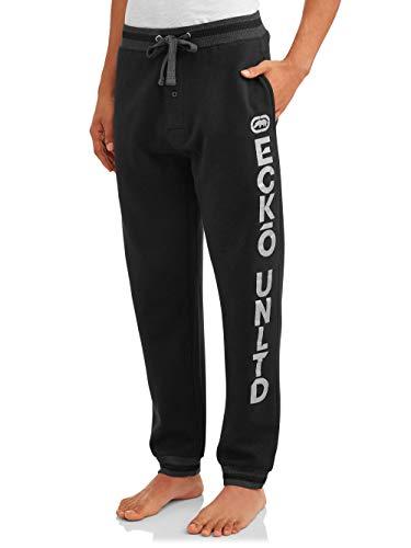 Ecko Unltd. Men's Cotton Fleece Jogger | Moisture Wicking Pajama Pant| 60% Cotton / 40% Polyester (Black, Large)
