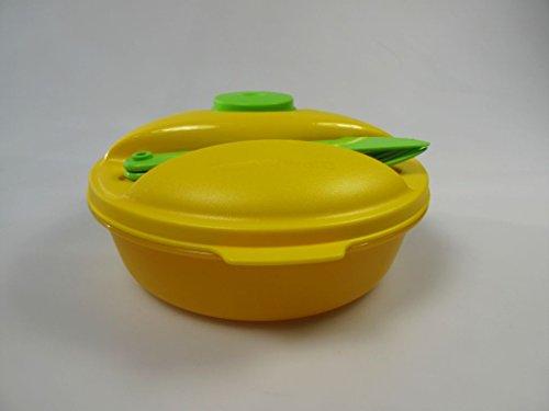 TUPPERWARE To Go Salat&Go 1,0L gelb grün Picknick Behälter + Besteck Salat & Go 7412