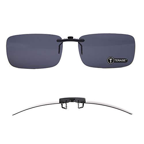 TERAISE Polarisierte Sonnenbrille mit Clip über Brillen Blendschutz UV404 für Männer Frauen Fahren Reisen Outdoor Sport (black)