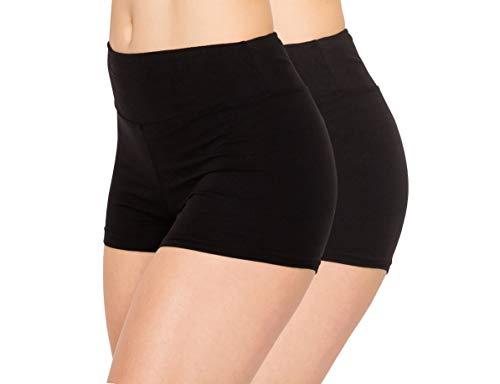 ALWAYS Women Boyshort Underwear Panties - Soft Stretch Boxer Brief Yoga Shorts 2 Pack Black S