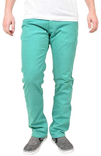 Kushiro City, Pantaloni da uomo, a gamba stretta, vestibilità slim, in tessuto elasticizzato Green 36W/30L