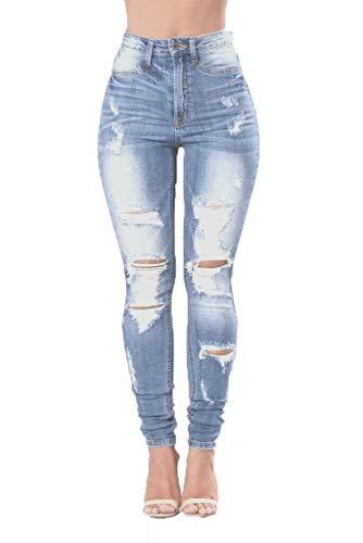 Damen Jeans mit hoher Taille, Skinny Hose, Jeggings, Denim-Hose für Damen, Größe UK Gr. 46, Blau Nova Ripped Jeans