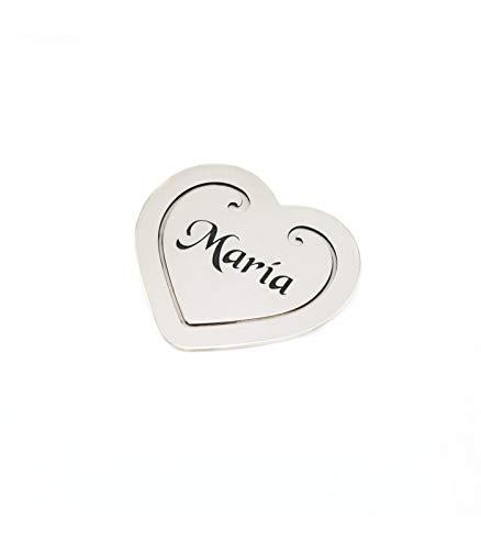 Silver & Steel Marcapáginas Love. Marcapagínas Personalizado de Plata de Ley 925 con corazón