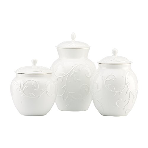 Lenox Opal Innocence Carved 3-Piece Canister Set, 6.00 LB, White