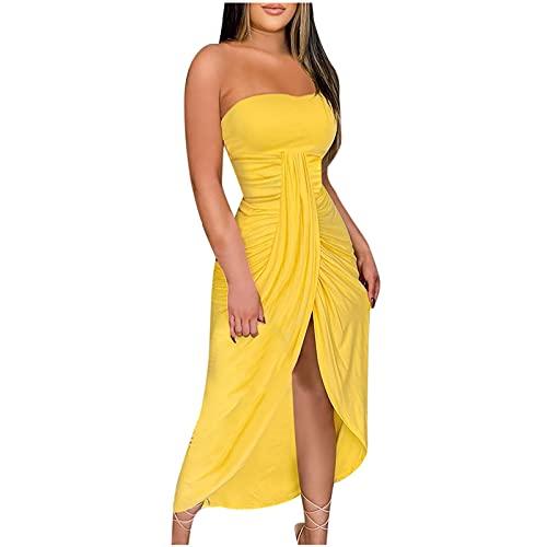 Wirziis Summer Women Tube Dress Casual Fashion Split Front Maxi Dress...