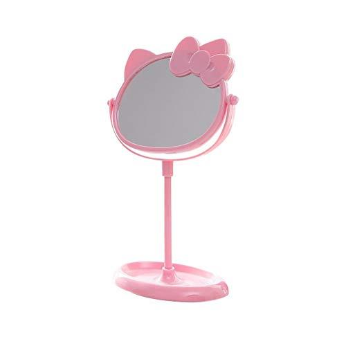 Miroir Cosmétique avec Support, de Maquillage de Table Pivotant À 360 ° Petit Cosmétique Compact Verre Trempé Portable de Maquillage (Color : Pink)