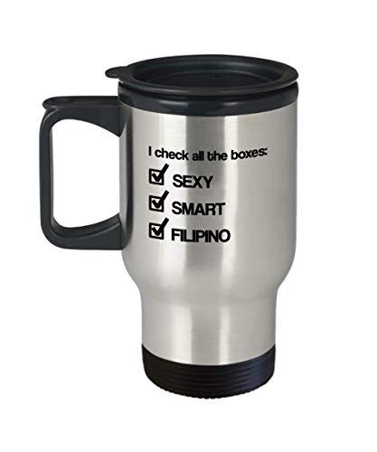 Funny Travel Mug for Filipino I check All The Boxes Sexy Smart Filipino Coffee Travel Mug Tea Cup