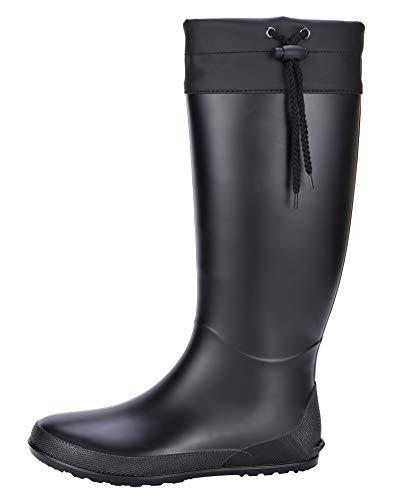 Women's Packable Tall Rain Boots - NO FOR WIDE CALF - Ultra Lightweight Flat Field Wellies Black 39