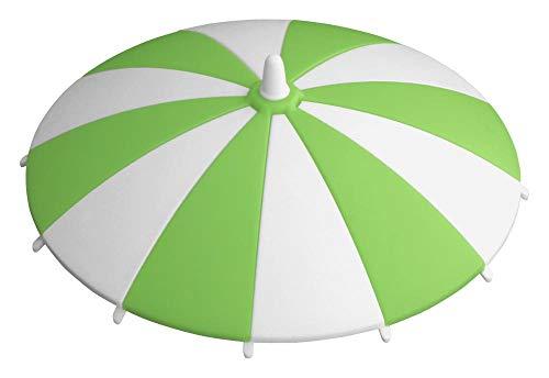 Home Xpert Glasabdeckung SCHIRMCHEN, Gläserabdeckung, Glasdeckel, Sommerdeckel, Schutzdeckel, Trinkglas-Deckel, hellgrün-weiß Ø 11,5 cm