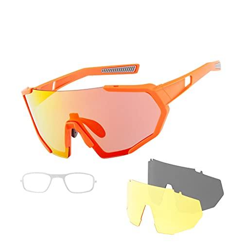 Gafas de Ciclismo Coloridas, Conjunto cambiante, a Prueba de Rayos UV y Espejo Deportivo a Prueba de Viento anteojos polarizados. Orange and Gray