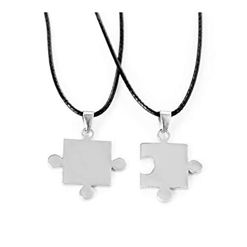 Accesorios Parejas Regalos Puzzle 2 Piezas Collar Colgante de Jigsaw Hombres Mujeres Amor San Valentín joyería y Accesorios Regalo (Metal Color : Xl0961)