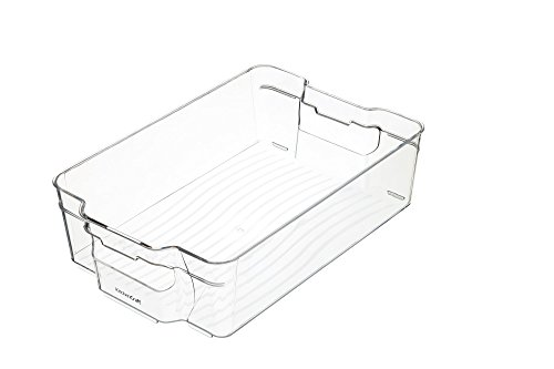 KitchenCraft KCFSTOREMED Medium Fridge-Safe Plastic Kitchen Storage Box, 31.5 x 21 x 9 cm (12.5' x 8.5' x 3.5') - Transparent