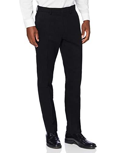 Marca Amazon - find. Pantalón de Traje Ajustado de Algodón Hombre, Negro (Black), 38W / 32L, Label: 38W / 32L