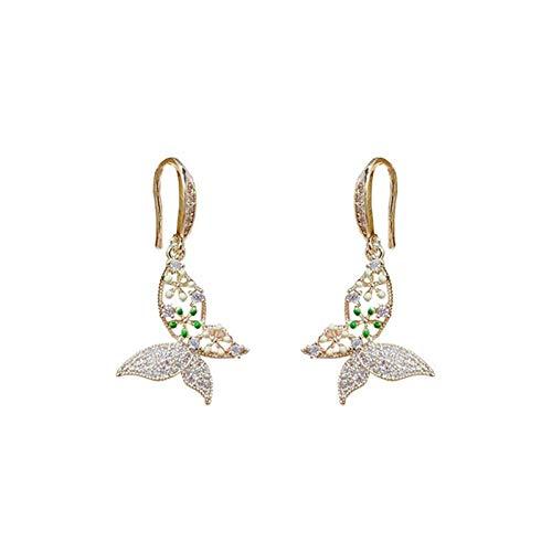 Pendientes colgantes de la mariposa del petróleo para las mujeres Sweet Moda Crystal Colgante Joyería (Metal Color : 1)