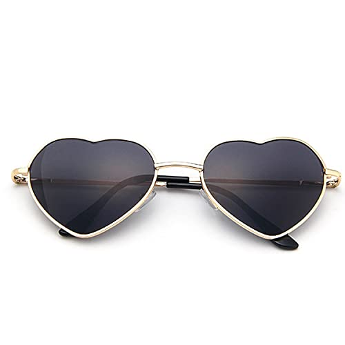 AMFG Gafas de sol cardíaco polarizadas para mujeres Moda estilo encantador marco de metal UV400 Protección (Color : C)