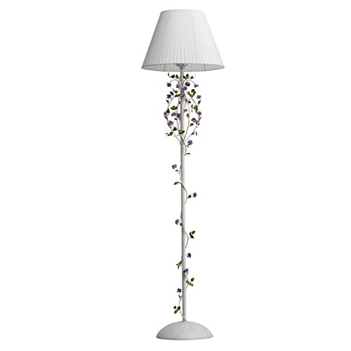 MW-Light 421044701 Stehlampe Florentiner Weiß Goldfarbige Metall Weiß Textilschirm Lila Grün Blumen Blätter 1 flammig E27 x 40W