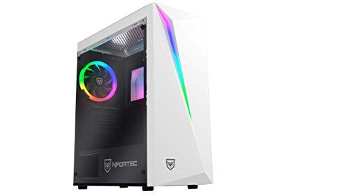 Nfortec Lynx - Torre Gaming Compatible con Placas ATX, Mini-ATX e ITX y Ventilador RGB Incluido en la Parte Trasera, color Blanco RGB (Cristal Templado)