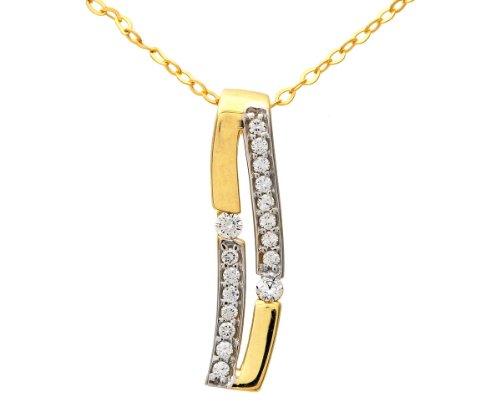 Citerna Damen-Halskette 9 Karat 375 Gelbgold mit 2 Reihen Zirkonia 46 cm P1020Y