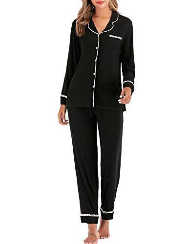 DLOREUK Women's Pajamas Set, Long Sleeve Cotton Sleepwear Button Down Soft Pj Lounge Sets Black-S