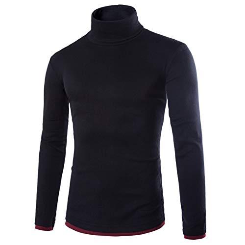 MENHG Mens Long Sleeve Jumper Sweatshirt Knitted Warm Fleece Tops Blouse Sweater Men Solid Colour Turtleneck Casual Retro Classic Sports Outdoor Jogging Knitwear Pullover Outwear Coats Black
