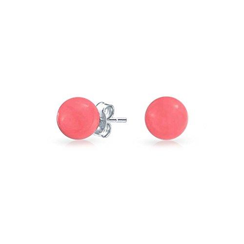Círculo De Bolas Redondas Simples Teñido Natural Coral Rosa Pendiente De Boton Plata Esterlina 925 6Mm Para Mujer