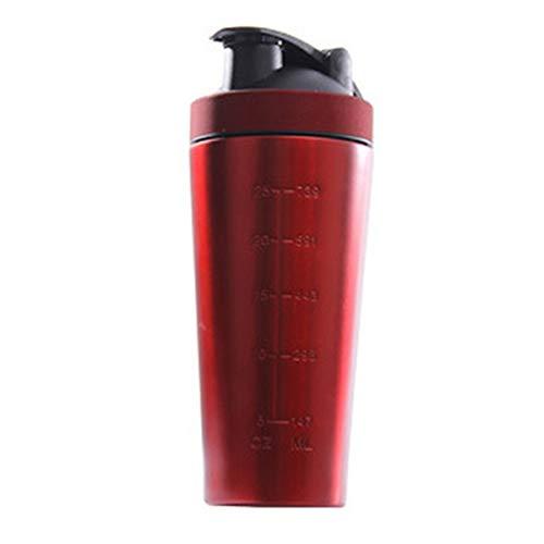 TOOGOO Botella Vibradora de ProteíNa de Acero Inoxidable Gimnasio Shaker Batido Deportivo Batidora Botella de Agua ProteíNa de Suero Fitness Sin BPA Rojo