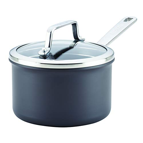 Anolon Authority Hard-Anodized Nonstick 2-Quart Covered Saucepan, Gray