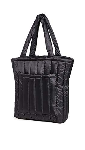 BAGGU Puffy Tote, Lightweight Nylon Protective Tote for Travel or Everyday Use, Black
