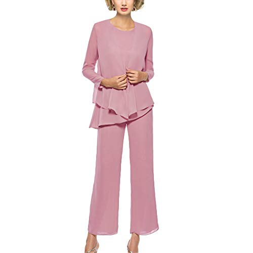 Mother of The Bride Pant Suits 3 Piece Outfits Formal Womens Evening Long Sleeve Chiffon Dressy Pantsuits for Weddings (Dusty Rose 16)