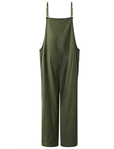 Mujer Peto Verano Hipster Informales Anchas Único Pantalones Pierna Ancha Monos Elegantes Vintage Color Sólido Ajustable Straps Overall Trousers (Color : Armygreen, Size : L)