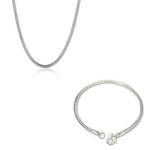 AMTBBK Pulsera Collar Set De Serpiente Plata De Ley 925, Joyería Pulsera De Suerte para Mujer, Brazalete Ajustables para Joyería De Mujer, Madre Regalos para Dia