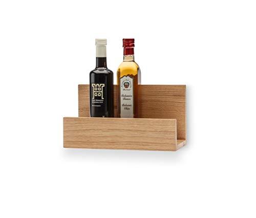 QONTUR Küchenregal Wand aus Holz | Massive Eiche | 30 cm breit | Hängend | Wand Regalbrett verwendbar als Gewürzregal, Weinregal, Schneidebrett Halter oder Bilderleiste