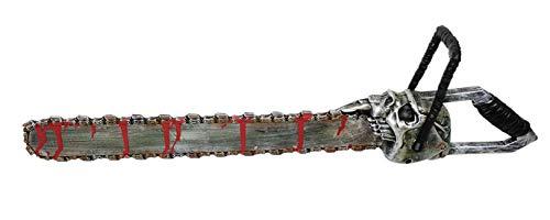 costumebakery - Kostüm Accessoires Zubehör Herren Blutige Totenkopf Kettensäge Säge Motorsäge, 53cm, Bloody Skull Chainsaw, perfekt für Halloween Karneval und Fasching, Silber