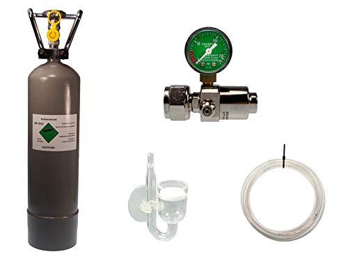 Guemmer products co2 Anlage Aquarium Komplett-Set für Aquarien mit 2kg Mehrwegflasche, gefüllt, NEU, inklusive Druckminderer und Diffusor