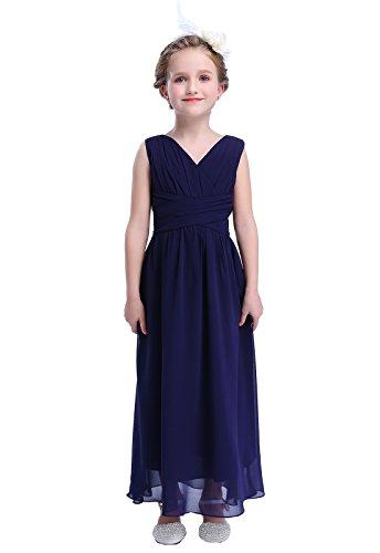 Happy Rose Flower Girl's Dress Party Dresses Juniors Long Bridesmaid Dress Navy 10