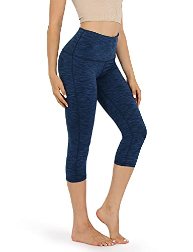 ODODOS Women's High Waist Yoga Capris, Tummy Control Yoga Leggings with Inner Pocket, Non See-Through 4 Way Stretch Workout Running Capris, Spacedye Navy, X-Large