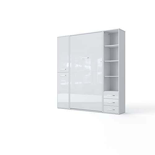 Lowest Price! Invento Vertical Wall Bed, European Full Size, 2 cabinets (White/White)