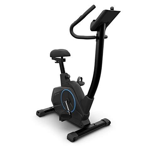 KLAR FIT Capital Sports EVO Air - Bicicleta estática, Pulsómetro, Inercia de 12 kg, Tracción por Correa, Altura Regulable, Entrenamiento de Resistencia, Soporte de Tablet, hasta 120 kg, Negro