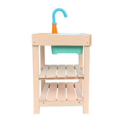 Wiltec Matschküche für Kinder aus Holz mit Spülbecken für Garten, Terrasse und Balkon - 4