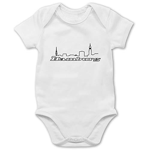 Städte & Länder Baby - Hamburg Skyline - 18/24 Monate - Weiß - Hamburg - BZ10 - Baby Body Kurzarm für Jungen und Mädchen