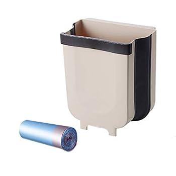Hanging Trash Can with Trash Bags Collapsible Garbage Bin for Kitchen Cabinet Door Bathroom Bedroom Office Car Camping - Foldable Waste Bin Under Kitchen Sink ,Plastic Wastebasket Over Cabinet Door