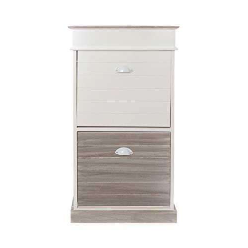 Scarpiera bianca e grigia 2 ante in legno e mdf, da 50x98x28 cm Bianco e Grigio