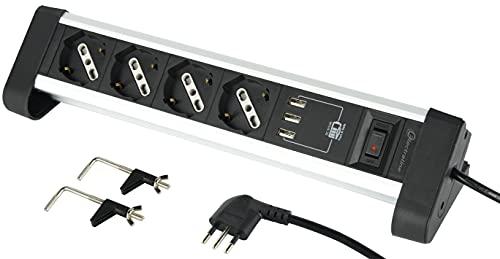 Electraline 61905 Multipresa 4 Posti Polivalenti, Schuko + 10/16 A, con 3 USB 3.4 A, con Supporti per Fissaggio alla Scrivania, Nero/Argento