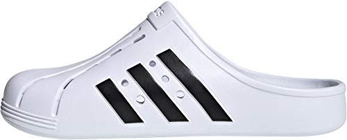 adidas Adilette Clog, Unisex-Flip-Flops für Erwachsene, Weiß - Mehrfarbig, (Ftwbla Negbás Ftwbla) - Größe: 44 2/3 EU